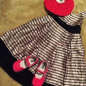 4T Tan & Black Striped Formal A-line Dress